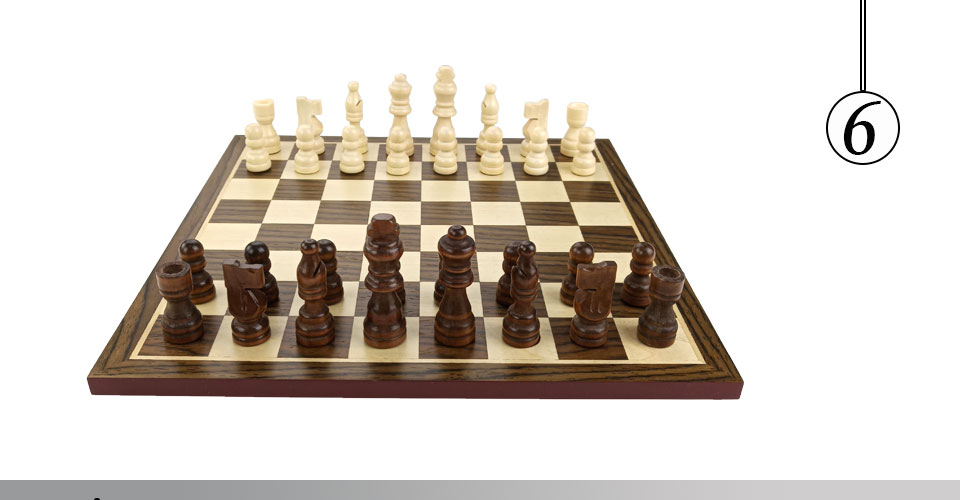 Easytoday Wooden Chess Game Set Wood Chess Pieces Short Tea Style Puzzle Chessboard Table Games High-quality (6)