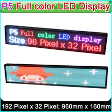 "SMD P5 RGB LED display panel, Indoor full color LED Advertising signs ,W40"" x H8.3"" (192Pixel*32Pixel)(China)"