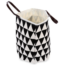 Large Geometric Canvas Kids Toy Box Clothes Storage Bag Basket Home Foldable Laundry Clothing Organizer With Handles
