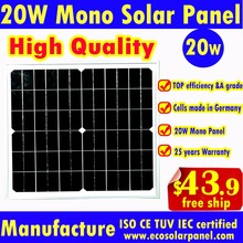 20W Solar Panel or 20 watt solar module to charge 12V battery by Germany mono solar cells for light, solar power system-freeship(China)