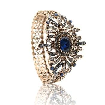 Exquisite Turkish Women Antique Gold Color Bangle&Bracelet Resin Rhinestone Jewelry Bangles Hollow Flower Pulseirsa Feminino
