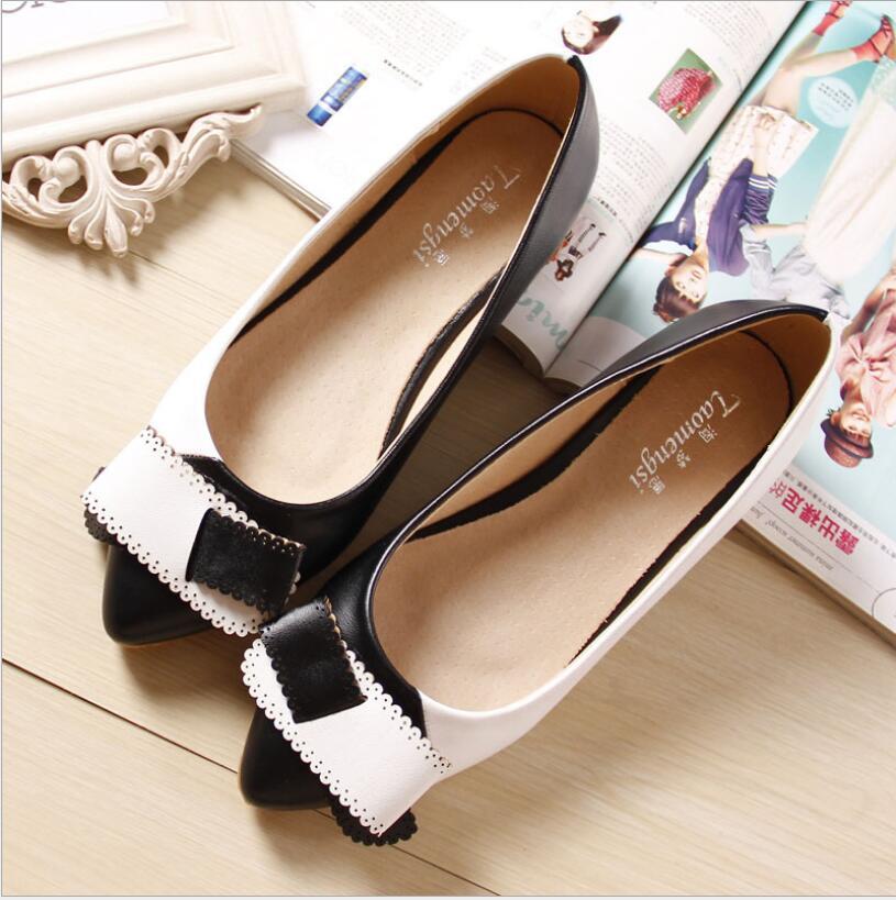 2016 fashion dress shoes woman bowtie women flats black and white free shipping 35-43<br><br>Aliexpress