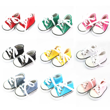 Colorful Doll Lace Up Canvas Sneakers Shoes for 18'' American Girl My Lift Our Generation Dolls Dress Up Clothing Outgoing Acces(China)