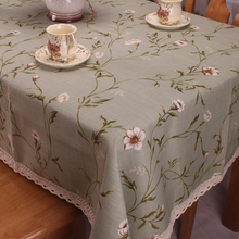 Light Green Cotton linen Table Cloth for Dinning Tables / American Country Style Nature Floral Table Cover for Small Tea Tables