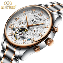 KINYUED Automatic Mens Watch Flying Tourbillon Skeleton Mechanical Self Winding Watches Men Calendar Relogio Masculino Dropship(China)