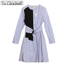 [To Gladself] Women 2017 Autumn Fashion Designer Clothing Clothes Casual Color Striped Patchwork Cut Out Tunic Blouse Dress(China)