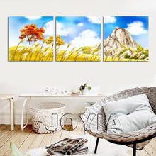 3 Piece Canvas Wall Art Mountain Landscape Painting Blue Sky Yellow Reed Abstract Oil Painting Printed On Canvas Decor No Frame