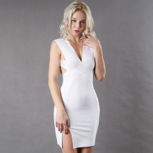 Buy Split Pencil Dress Women's Hollow Deep V Neck Women Backless Sleeveless Bodycon Wedding Vestidos bandage Summer Mini Dress for $16.24 in AliExpress store