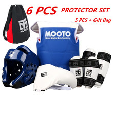 Mooto taekwondo protectors full set child adult Helmet Chest head protector Armguards Shank protector Crotch Protective guard(China)