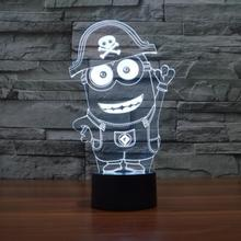 7 Colors Change Minions small yellow people cartoon Night Light Child Bedroom Sleeppng Led Table Lamps USB Beside Home Decor