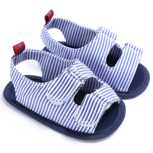 Summer Peep Toe Black Blue & White Striped Double Hook & Loop Baby Shoes Cotton Soft Sole Infant Toddler Baby Boy Sandals
