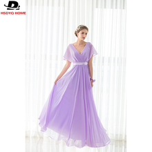 In Stock Light Purple Bridesmaid Dresses Sashes short sleeve Bridesmaid Dress Gown Real Photo 2017 Cheap A-Line dress US4-US16