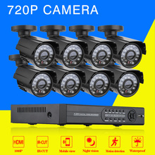 8CH 1080P AHD DVR Recording Smart Surveillance System kit 8PCS IP66 720P Security Camera Kit  1080P HDMI Output) nightvision