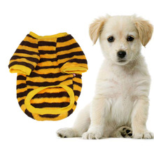 High-quality  Graceful Durable 1PC Coral Fleece Pet Dog Warm Clothes Doggy Apparel Stripe T Shirt Dog Clothes For Small Dogs Rou