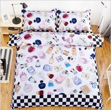 3pcs/4pcs sanding brand lady bag bedding set twin/full/queen size brand perfume home textile free shipping via UPS