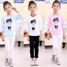 Promotion new style Children girl's 2017 Spring Autumn long sleeve with black white girl pattern O-neck cotton t-shirt  TZ02