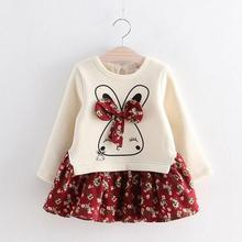 2017 Hot Sale Fashion Litttle Girls Winter Autumn Baby Girl Princess Dress Cute Rabbit Flowers Printed Girls Long Sleeve Dress