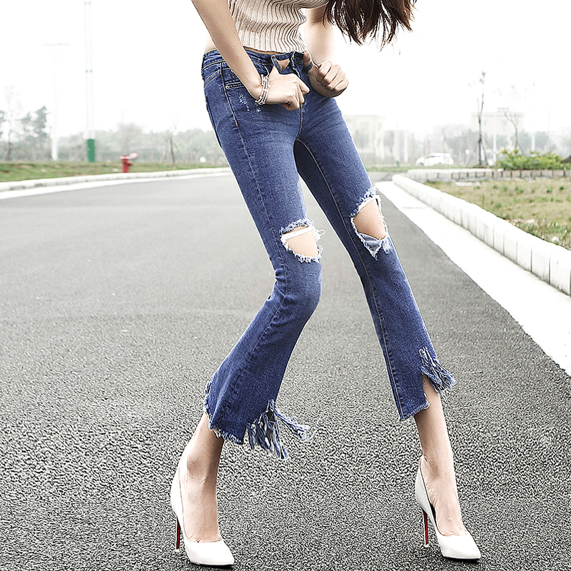 2017 Summer Top Fashion Korean Style Ripped Washed Vintage Womens Jeans Low Waist Leisure Hole Stretch Cowboy Women Pants D40 Одежда и ак�е��уары<br><br><br>Aliexpress