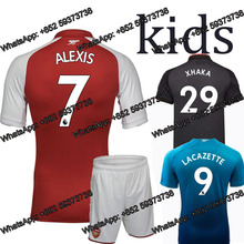 frr 2017 Top quality Best Qualit kids Arsenales Soccer kits jersey 17 18 Home red Away yellow 3RD blue shirt free shipping u(China)