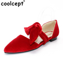 Coolcept Size 34-39 Women Genuine Leather Pointed Toe Square Heels Buckle Sandals Slipper Women Sexy Red Flock Slip On Sandals(China)