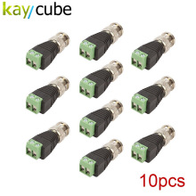 10 Pcs Coax CAT5 Cat6 UTP To BNC Video Balun Connector Male Adapter Coaxial Connector for CCTV Camera DVR(China)