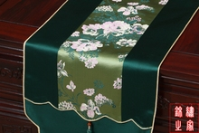 3 sizes High Quality Chinese Vintage Mixed Silk&Brocade White Flower Pattern Green Table Runner Bed Flag with Jade tassel(China)