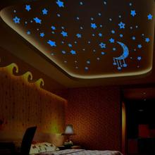 Kids Bedroom Fluorescent Glow Dark Stars Wall Stickers Plastic Luminous star glow stickers fosforlu wallpaper pegatinas&15