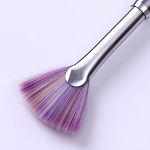 Pink Rhinestone Handle Fan Nail Brush Gradient Dust Glitter Powder Remover Nail Art Drawing Pen Painting Manicure Tools(China)