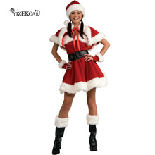 New Arrival Santa Red Dress Leggings Sexy Velvet Miss Santa Cosplay Costume woman  sexy uniform christmas  Costumes LC7152