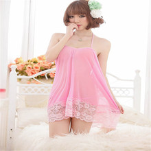 2017 Women Sexy Lace Pink Halter Neck Backless One Piece Dress Nightdress Lingerie