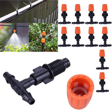 10pcs Atomization Nozzle Water Control Sprayer DIY Micro Drip Irrigation Plant Self Garden Mist Sprinkler with Hose Connector