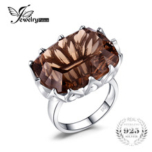 JewelryPalace Huge Unique Concave 20ct Smoky Quartzs Ring For Women Solid 925 Sterling Silver Jewelry For Women Nice Gift(China)