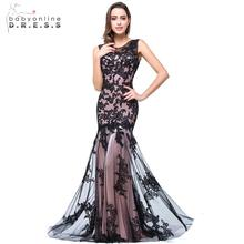 Robe De Soiree 2017 Elegant Mermaid Long Evening Dresses Black Appliques Lace Prom Party Evening Gowns Sleeveless vestido longo