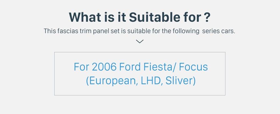 Seicane Silver Double Din Car Radio Fascia for 2006 Ford Fiesta Focus European LHD Audio Frame DVD Player Dash Mount