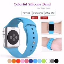 Sport Colorful Silicone watch strap For Apple Watch band 42 mm 38 mm Rubber watchband With Adapter for Iwatch Series 1 2