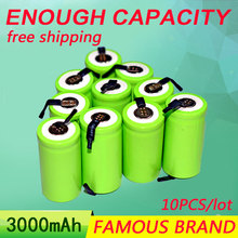 Golooloo 10pcs 3000mAh 1.2V 22*22*42 Ni-MH Battery Sub C SC 22420 With an extension cord processed into tools battery(China)