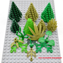 10pcs/lot Grass Leaves Garden Plant Branches Bamboo Pine Trees MOC Bricks Building Blocks Kids Gifts Toys(China)