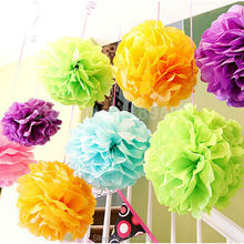 "Tissue paper pom poms balls Wedding decoration baby shower birthday party decoration supplies 30pcs 6"" 8"" 10""(15cm 20cm 25cm)(China)"