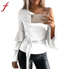 Buy Sexy One Cold Shoulder Butterfly Sleeve Blouse 2017 Autumn Fashion Women Shoulder Long Sleeve Shirt Loose Tops Blusas for $8.16 in AliExpress store