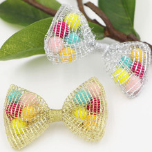 New Arrival Colorful Wool Balls Decorated Hollow Out Handmade Craft Knot Bows Fit for Toddler Kids Hair Jewelry Headband Decor