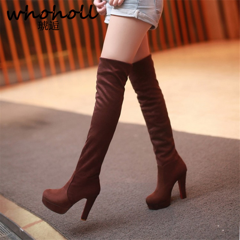 Whoholl Winter Thigh High Boots Slip-on Over The Knee Boots Shoes Women Long Boots Autumn Ladies Platform High Heels Big Size 47<br>