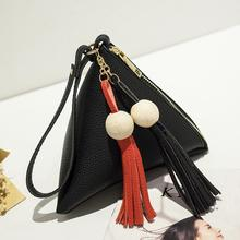 2017 New European Trendy Small Purse Fringe Bag Ladies Wallet Triangle Women's Clutches Casual Leather Handbags(China)