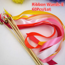 (30Pcs/Lot)Custom Made 2 Color Ribbon Wands Stick With Bell  Wedding Twirling streamers Send off gifts(Design E)