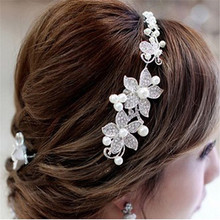 NEW  Clear Crystal Rhinestone Faux Pearl Flower Party Bridal Headband Hair Band Tiara