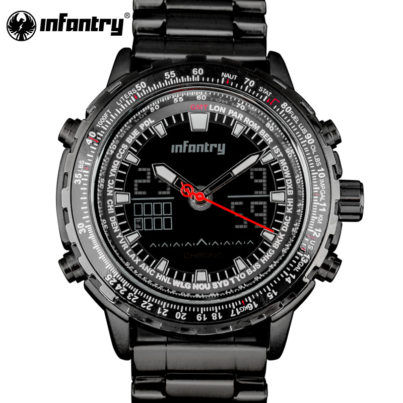 INFANTRY Mens Watch Tactical Military Army Analog Digital Multifunction Sport Wrist Watch Full Stell Men Watch Relogio masculino<br>
