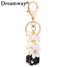 Alloy Flower Pearl beads keychain car perfume bottle pendant fashion women bag ornaments female friends gifts best choice