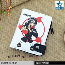 Anime Naruto Shippuden PU White Short Zero Wallet/Uchiha Itachi Coin Purse with Interior Zipper Pocket