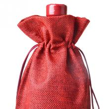 Rustic Natural Jute Burlap Wine Bags Drawstring Wine Bottle Gift Covers Festival Parties Decoration Covering