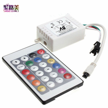 New Arrival DC5V/DC12V 6A 24 Key IR Remote Controller Dimmer For WS2811 WS2812b 2812 2811 RGB LED Strip Light Lamp Tape Ribbon(China)
