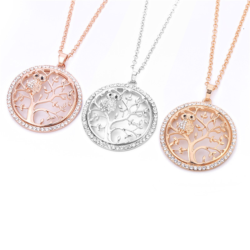 Cute Owl Crystal Pendant Necklace for Women Silver Hollow Tree of Life Long Necklace Fashion Jewelry Party Valentine's Day Gift
